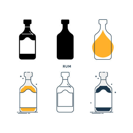 Set of bottles with rum in different styles. Template alcohol beverage for restaurant, bar, pub. Symbol party. Collection one drink. Isolated flat illustration on white background. Stock fotó - 151130807