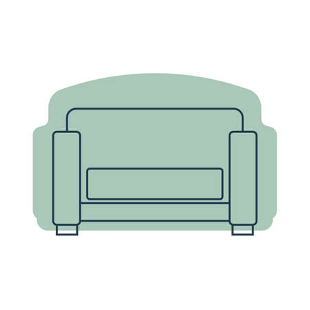 Comfortable sofa with one pillow. Image of couch in line art style. Element furniture of the interior. Modern stylish object for relaxation. Flat illustration with settee on shape background.
