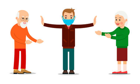 Masked doctor spreads his arms and warns of social distance between people during coronavirus pandemic. Warning public contacts between older people to protect against infection. Flat design isolated. Illusztráció