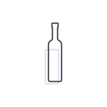 Simple line shape of vodka bottle. One contour figure of a bottle, the second drink. Outline symbol whiskey dark color. Sign liquid gray. Isolated flat illustration on a white background.