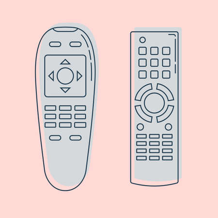 Two object hand remote control. Multimedia panel with shift buttons. Program device. Wireless console. Universal electronic controller. Isolated thin line illustration. Color background. Flat symbol. Illusztráció