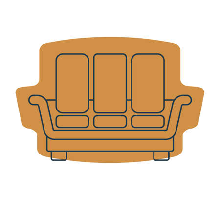 Comfortable sofa with three pillows. Image of couch in line art style. Element furniture of the interior. Modern stylish object for relaxation. Flat illustration with settee on shape background.