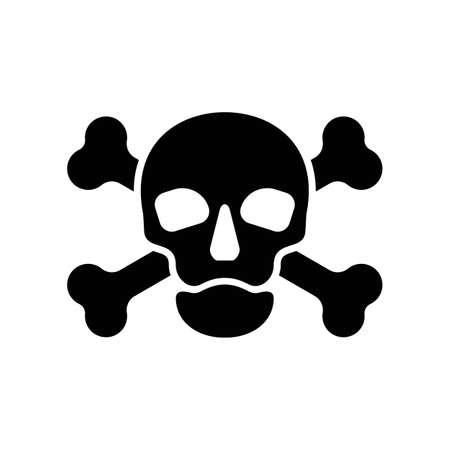 Silhouette human skull in full face and crossbones. Isolated illustration in flat style on white background. Poison sign and symbol for design. An image of danger to humans. Icon of hazard to life.