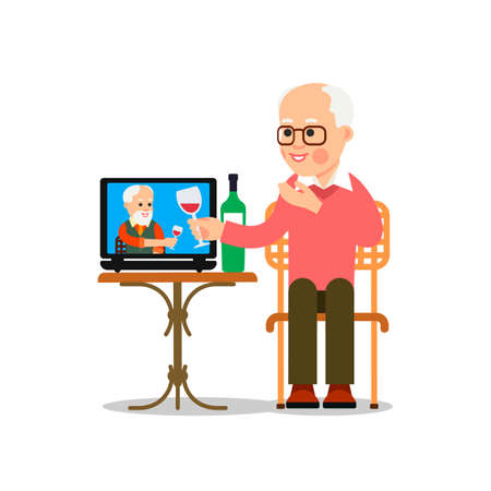 Online meeting old friends. People drink wine together in quarantine. Elderly man sitting in a chair in front of a laptop and sees a older friend on screen. Video chat. Flat isolated illustration. Vectores