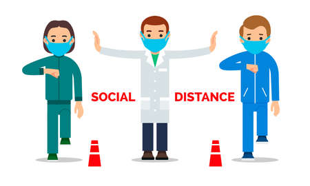 Masked doctor spreads his arms and warns of social distance between people during coronavirus pandemic. Warning public contacts between people to protect against infection. Flat design isolated