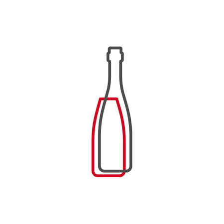 Simple line shape of red wine bottle. One contour figure of a bottle, the second drink. Outline symbol wine dark color. Sign liquid red. Isolated flat illustration on a white background.