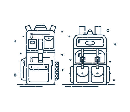 Two backpack or schoolbags with pockets and zipper element. Education rucksack for students and traveling icon. Tourism bag. Front view. Flat line art illustration isolated on white background.