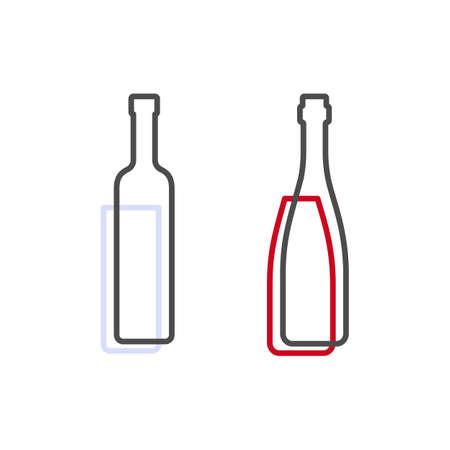 Simple line shape of vodka and red wine bottle. One contour figure of a bottle, the second drink. Outline symbol beverage black color. Sign liquid colored. Isolated flat illustration. Иллюстрация