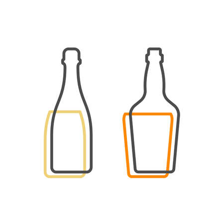 Simple line shape of champagne and whiskey bottle. One contour figure of a bottle, the second drink. Outline symbol beverage black color. Sign liquid colored. Isolated flat illustration.