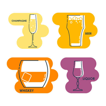 Wineglass champagne beer whiskey liquor line art in flat style. Isolated on colored shape as background. Restaurant alcoholic illustration for celebration design. Contour element. Set beverage icon. Stock fotó - 155368446
