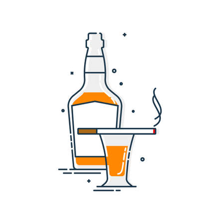 Bottle and glass of alcohol and cigarette great design for any purposes. Isolated illustration white background. Closeup shot. Trendy design. Minimalism sign. Alcoholic product for restaurant symbol.