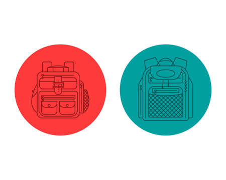 Education and study backpack for students and traveling icon. Rucksack or schoolbag with pockets and zipper element. Tourism bag. Flat line art illustration isolated on circle background. Front view.
