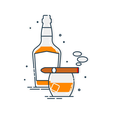 Bottle of whiskey glass with ice and a burning cigar. Set of alcoholic drink and a relaxing smoking object. Isolated flat illustration on white background. Line art design for restaurant and pub. Иллюстрация