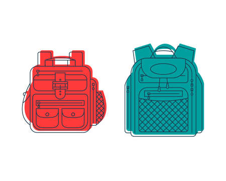 Rucksack or schoolbag with pockets and zipper element. Education and study backpack for students and traveling icon. Tourism bag. Front view. Flat line art illustration isolated on white background. Ilustração