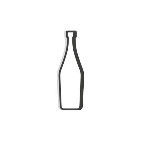 Martini bottle line. Simple template. Isolated object. Symbol in thin lines for alcoholic institutions, bars, restaurants, pubs and night clubs. Dark outline. Flat illustration on white background.  イラスト・ベクター素材