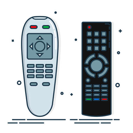 Hand remote control. Multimedia panel with shift buttons. Two design options. Program device. Wireless console. Universal electronic controller. Color isolated flat illustration on white background.