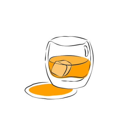 Wineglass whiskey with ice. Drink element. Color object. Retro glass wine hand draw, design for any purposes. Restaurant illustration. Simple sketch. Isolated on white background in engraving style.