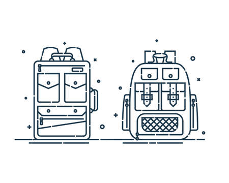 Two rucksack or schoolbags with pockets and zipper element. Education backpack for students and traveling icon. Tourism bag. Front view. Flat line art illustration isolated on white background. Ilustração