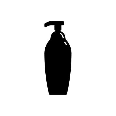 Cosmetic container in the form of plastic bottle with spray head. Illustration design in the form of silhouette with thin white lines. Isolated icon in flat style on white background.