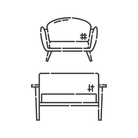 Comfortable sofa with pillow. Two modern stylish object for relaxation. Image of couch in line art style. Element furniture of the interior. Flat illustration with settee on white background.