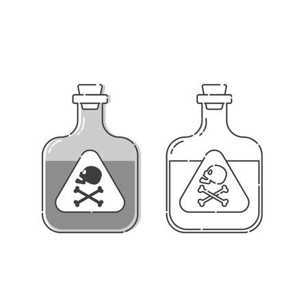 Bottle poison with skull in profile and full face for concept design. Dangerous container. Potion beverage medical concept. Chemistry addiction icon. Venom, danger symbol. Isolated flat illustration.