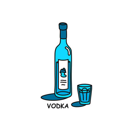 Vodka bottle and glass outline icon on white background. Colored cartoon sketch graphic design. Doodle style. Hand drawn image. Party drinks concept. Freehand drawing style.