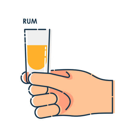 Male holding a glass of rum in right hand. Line art design element on white backdrop. Fingers human with stack with strong alcohol. Concept of time to drink alcohol. Modern graphic style illustration