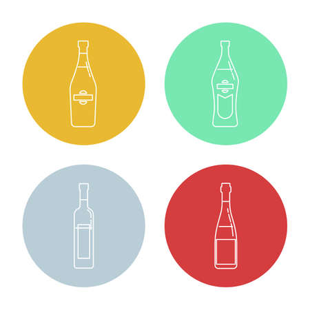 Bottle of martini, vermouth, red wine and vodka in form of thin lines. Background is circle. Isolated object design beverage. Graphic illustration in flat style. Simple icon for restaurant, party. Illusztráció