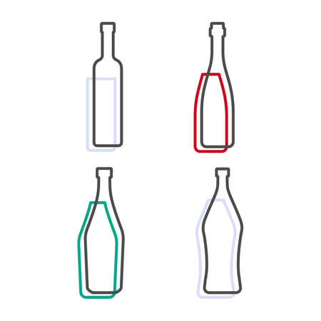Simple line shape of vodka red wine martini and vermouth bottle. One contour figure of bottle, the second drink. Outline symbol beverage black color. Sign liquid colored. Isolated flat illustration.