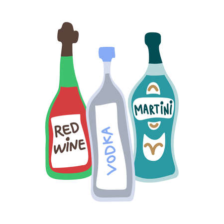 Collection of bottles of strong alcohol. Vodka, red wine and martini. Party drinks concept. Hand draw cartoon isolated illustration on white background. Doodle line graphic design. Freehand drawing.