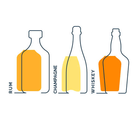 Bottles rum champagne whiskey in row. Continuous line object on white background. Black thin outline and color fill. Modern flat style graphic design. contour element illustration. Illusztráció