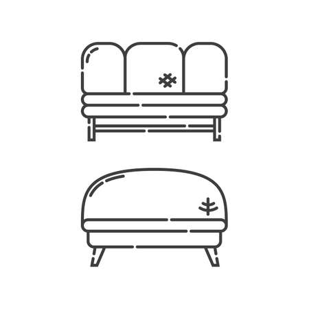 Comfortable sofa with three pillow. Two modern stylish object for relaxation. Image of couch in line art style. Element furniture of the interior. Flat illustration with settee on white background. Illusztráció