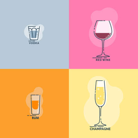 Shot vodka, rum and wineglass red wine, champagne line art in flat style. Restaurant alcoholic illustration for celebration design. Beverage outline icon. Isolated contour object on color backdrop.