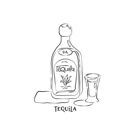 Bottle and glass tequila in hand drawn style. Restaurant illustration for celebration design. Retro sketch. Line art. Design element. Beverage outline icon.