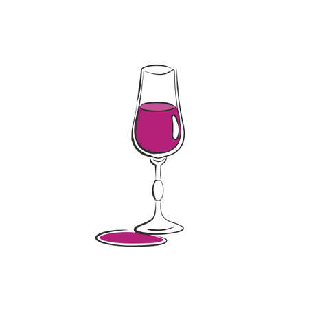Wineglass liquor. Drink element. Color object. Retro glass wine hand draw, design for any purposes. Restaurant illustration. Simple sketch. Isolated on white background in engraving style.