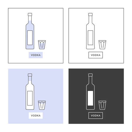 Bottle and glass vodka line art in flat style. Set of shapes of contour elements. Restaurant alcoholic illustration for celebration design. Beverage outline icon. Isolated sign on white background.