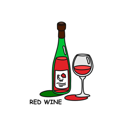 Red wine bottle and glass outline icon on white background. Colored cartoon sketch graphic design. Doodle style. Hand drawn image. Party drinks concept. Freehand drawing style.