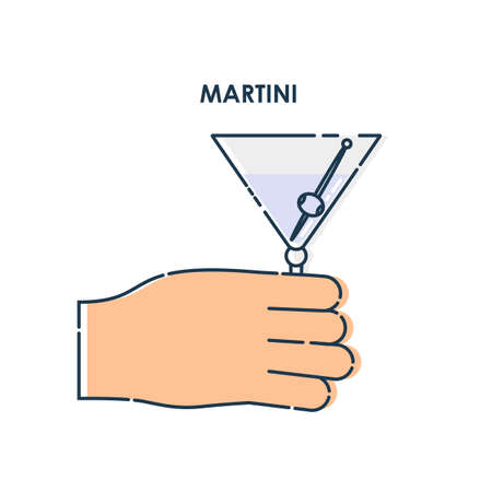 Hand holding a glass of martini. Line art design element on white background. Fingers human with a tumbler beverage. Concept of time to drink alcohol. Modern graphic style illustration. Illusztráció
