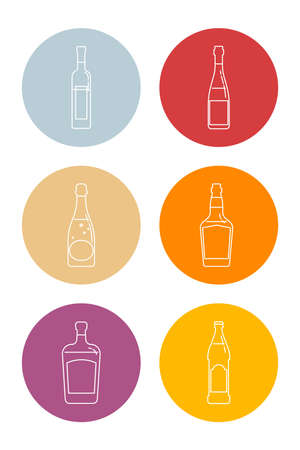 Bottle of vodka, red wine, champagne, whiskey, liquor and beer in form of thin lines. Isolated object design beverage. Graphic illustration in flat style. Icon for restaurant in circle backdrop.