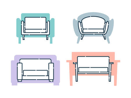 Four comfortable sofa with pillows. Flat illustration with settee on shape background. Modern stylish object for relaxation. Set images of couch in line art style. Element furniture of the interior.