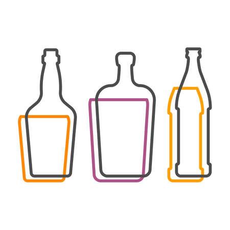 Simple line shape of whiskey liquor and beer bottle. One contour figure of flask, the second drink. Outline symbol beverage black color. Sign liquid colored. Isolated flat illustration. Illusztráció