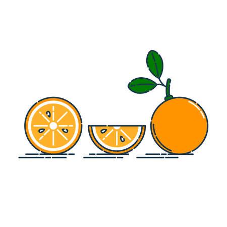 Whole, cut and slice in half orange or tangerine fruit isolated on white background. Organic product. Bright summer harvest illustration. Flat style illustration for any design. Fresh cut citrus icon Illusztráció