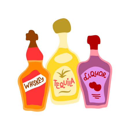 Collection of bottles of strong alcohol. Tequila, liquor and whiskey. Party drinks concept. Hand draw cartoon isolated illustration on white background. Doodle line graphic design. Freehand drawing style.