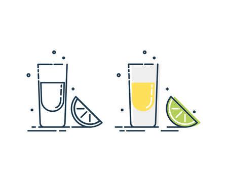 Line art snack tequila lime. Mexican beverage. White background. Tasty snack. Closeup shot. Trendy fruit food design. Color minimalism simplicity sign. Alcoholic product for restaurant illustration. Illusztráció