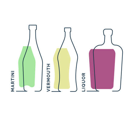 Bottles martini vermouth liquor in row. Continuous line object on white background. Black thin outline and color fill. Modern flat style graphic design. Logo contour element illustration. Illusztráció