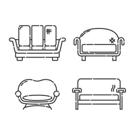 Comfortable sofa with three pillow. Four modern stylish object for relaxation. Image of couch in line art style. Element furniture of the interior. Flat illustration with settee on white background.