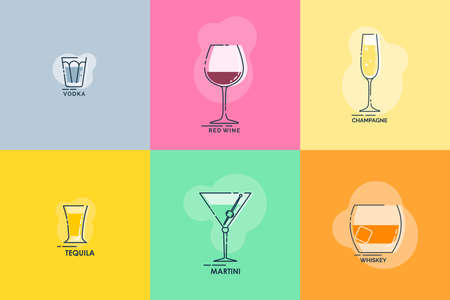 Shot vodka, tequila, whiskey, wineglass red wine, martini, champagne line art in flat style. Restaurant alcoholic illustration for celebration design. Beverage outline icon. Isolated contour object.