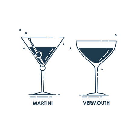 Glassware martini and vermouth line art in flat style. Restaurant alcoholic illustration for celebration design. Contour element. Beverage outline icon. Isolated on white background in graphic style.