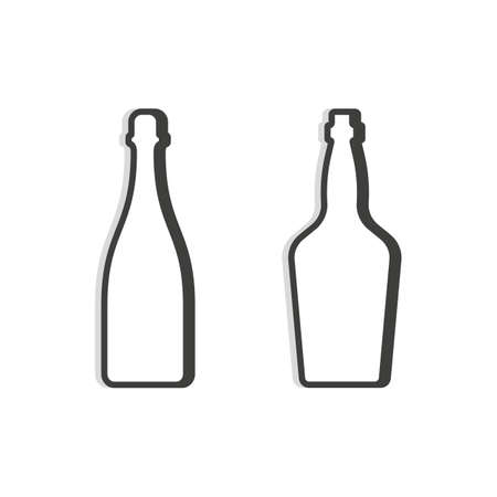 Shampagne and whiskey bottle. Linear shape. Simple template. Isolated object. Symbol in thin lines for alcoholic institutions, bars, restaurants, pubs. Dark outline. Flat illustration on white backdrop.