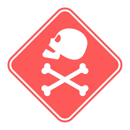 Human skull in profile and crossbones. Isolated illustration in flat style on a red warning square. Poison sign and symbol for design. An image of danger to humans. Icon of hazard to life. Illusztráció